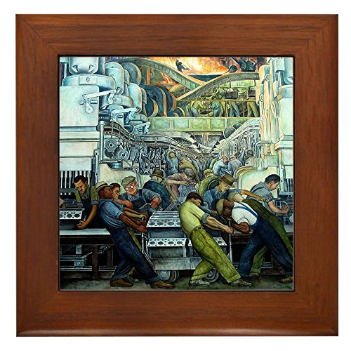 vera Detroit Industry Framed Art Tile - Framed Tile, Decorative Tile Wall Hanging (Diego Rivera Mural)