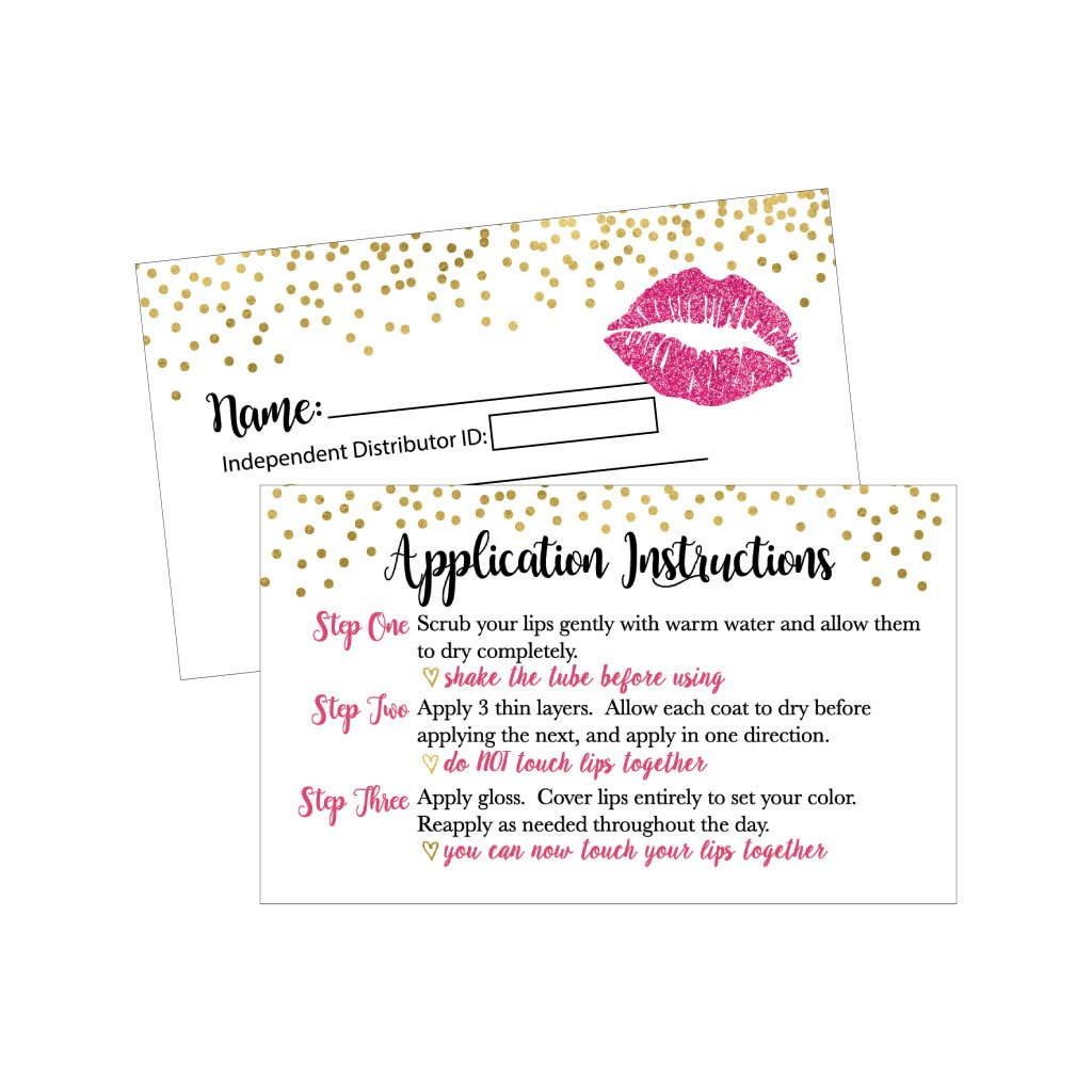 25 Lipstick Business Marketing Cards, How To Apply Application Instruction Tips Lip Sense Distributor Advertising Supplies Tool Kit Items, Makeup Party For Lipsense Younique Mary Kay Avon Amway Seller