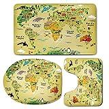 3 Piece Bath Mat Rug Set,Kids-Decor,Bathroom Non-Slip Floor Mat,Educational-World-Map-Africa-America-Penguins-Atlantic-Pacific-Ocean-Animals-Australia-Panda-Decorative,Pedestal Rug + Lid Toilet Cover