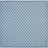 Safavieh Courtyard Collection CY6919-243 Blue and Beige Indoor/Outdoor Square Area Rug, 4-Feet Square