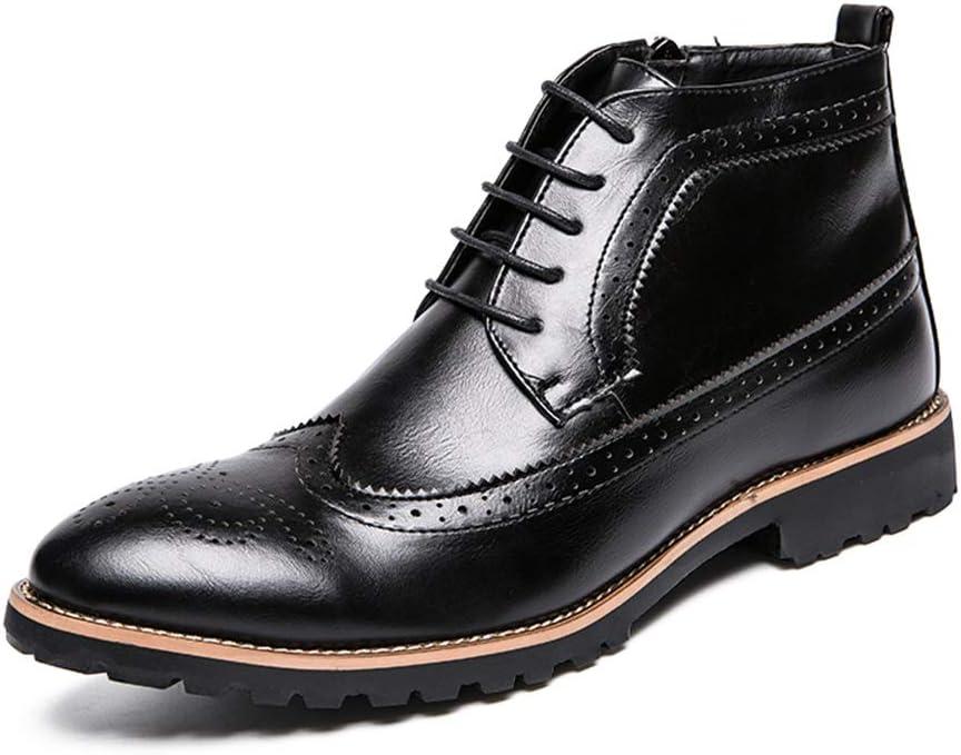 DADIJIER Botines de Moda para Hombre Casual clásico Brogue Clásico Tallado Cremallera Lateral Botas Altas Botines con Cordones Durable (Color : Negro, tamaño : 43 EU)