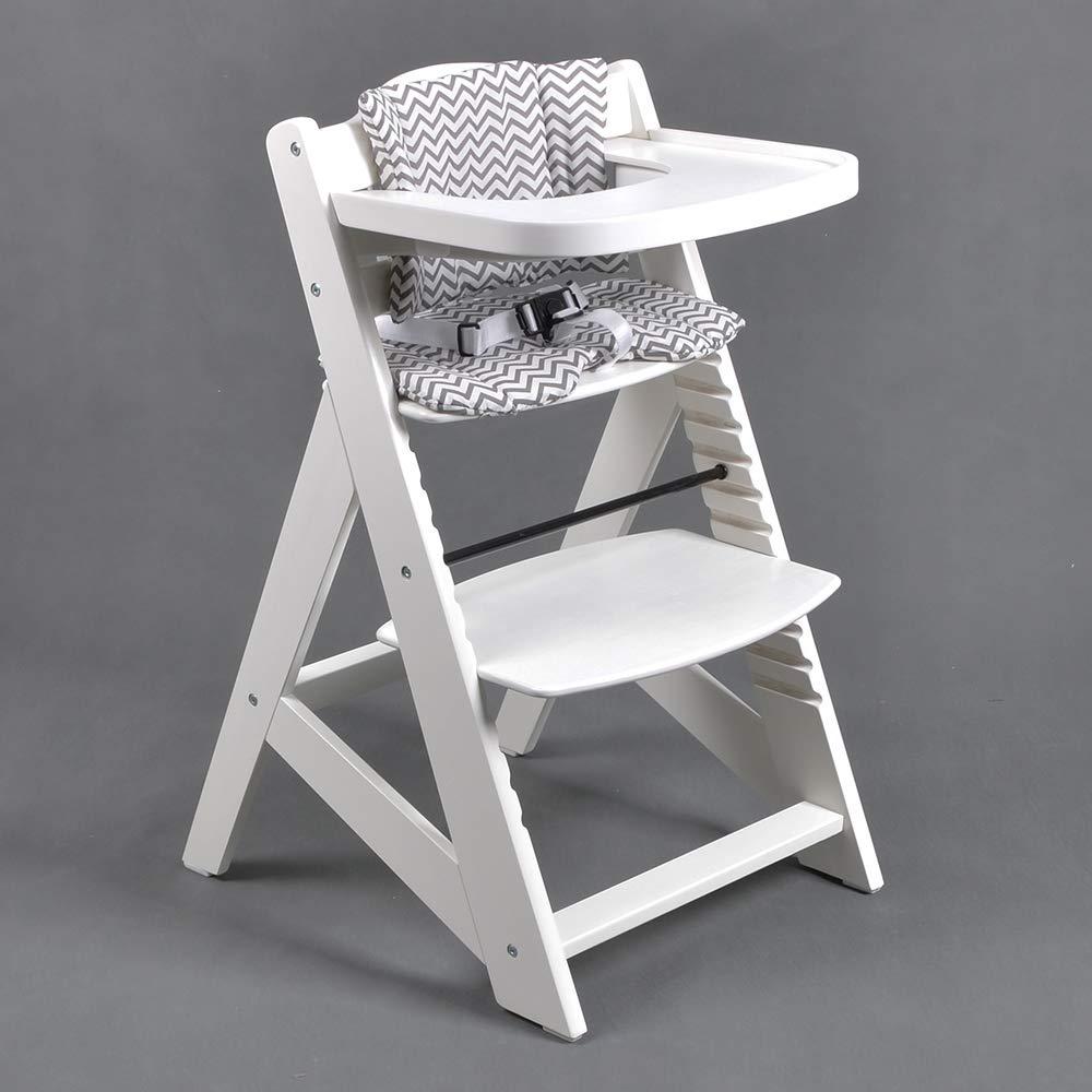 Chaise Haute en bois Ajustable Chaise bébé Escalier chaise BLANC 6551-W TIGGO HC6551-W