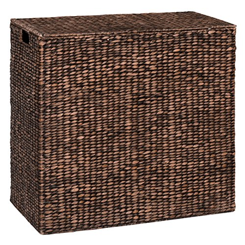 Happybeammy Water Hyacinth Double Laundry Hamper Basket 2 Liner Basket Bags Brushed Espresso by Happybeammy