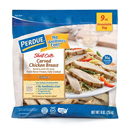 All Natural Grilled Chicken Strips - Perdue Short Cuts, Carved Chicken Breast Strips, Grilled, Fully Cooked Fresh, 9 oz