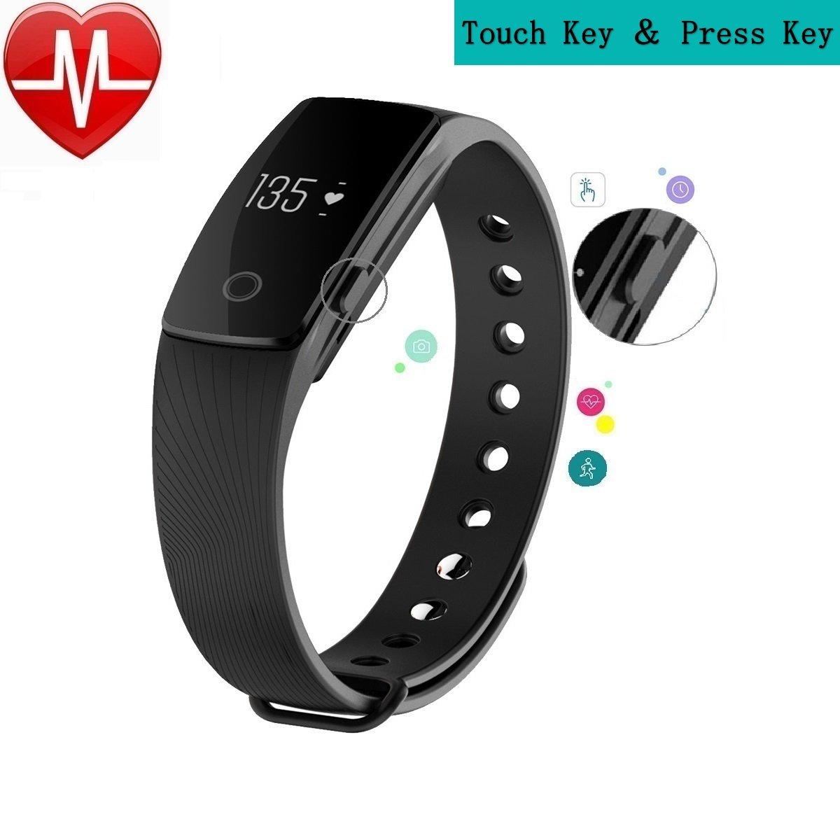 Smart Wristband F1 Plus Original Bracelet Color Screen Fitness Tracker With Heart Rate Monitorpashion Bluetooth Band Touch Healthy Watch For Android Ios