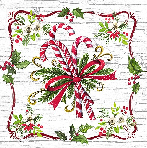 Cypress Home Candy Cane Paper Lunch Napkin, 20 count