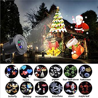 Saundra Peal Outdoor Projector Lights Snowflakes Light Decorations 12 Slides LED Moving Landscape Spotlights for Holiday Decorations