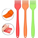 "Silcony Set of 3 Pure Silicone BIG SIZE 10"" Heat Resistant Basting Pastry Brushes - Perfect for BBQ, Grilling, Baking, Marinating Meat, Steaks, Spring Rolls & Much More- Assorted Colors"
