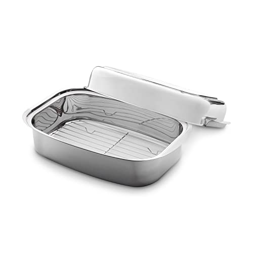 Stainless Steel Roaster 36 x 24 x 9,6 cm (7,2 l) by K & G seit 1948 Roaster with Matching Lid (can be used as Pan and Serving Plate) and removable Grid for Grilling, suitable for Induction Hobs