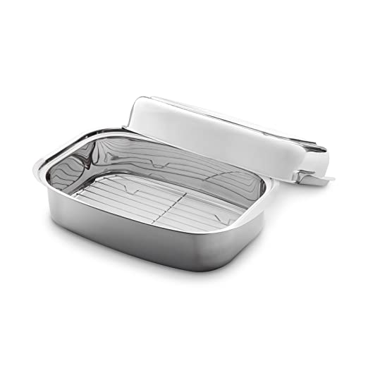Bandeja para asar de Acero Inoxidable 36 x 24 x 9,6 cm (7,2 l) con tapa ajustable (uso alternativo como sartén y plato para servir) y rejilla ...
