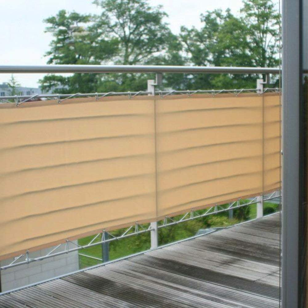 Gray Yours Bath Balcony Privacy Screen 5 x 0.9 m Balcony Privacy Shield UV Protection Opaque Weather-Resistant Balcony Cover Protective Screen HDPE Screen without Screws