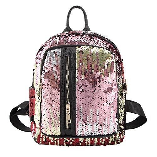 e234357d8aca Candice Women Shiny Sequins PU Leather Shoulder Bag Satchel Backpack School  Bag(Pink)