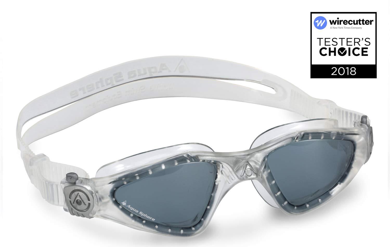 Aqua Sphere Kayenne Swim Goggle Smoke Lens, Clear and Silver Adult UV Protection Anti Fog Swimming Goggles