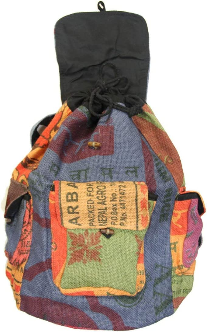 Recycled Jute Rice Bag Backpack Hand Made Nepal
