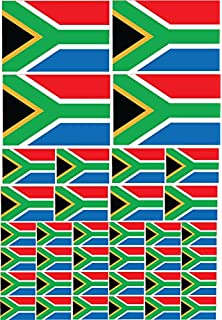 South African Flag Stickers Mini Sticker Pack 33x20mm Rectangle Self-Stick South Africa Labels