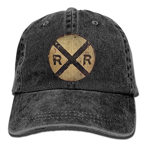 Railroad Crossing Tin Metal Sign Unisex Adjustable Cotton Denim Hat Washed Retro Gym Hat FS&DMhcap Cap Hat -