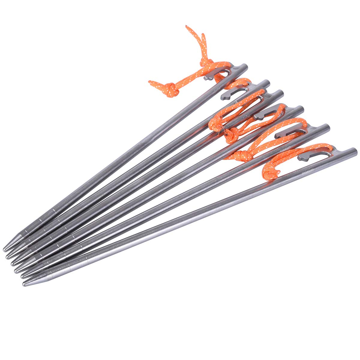 iBasingo 6 pcs Titanium Alloy Tent Pegs Outdoor Camping Awning Tent Stakes Lightweight Tent Nail (L 30cm) Ti1564I by iBasingo