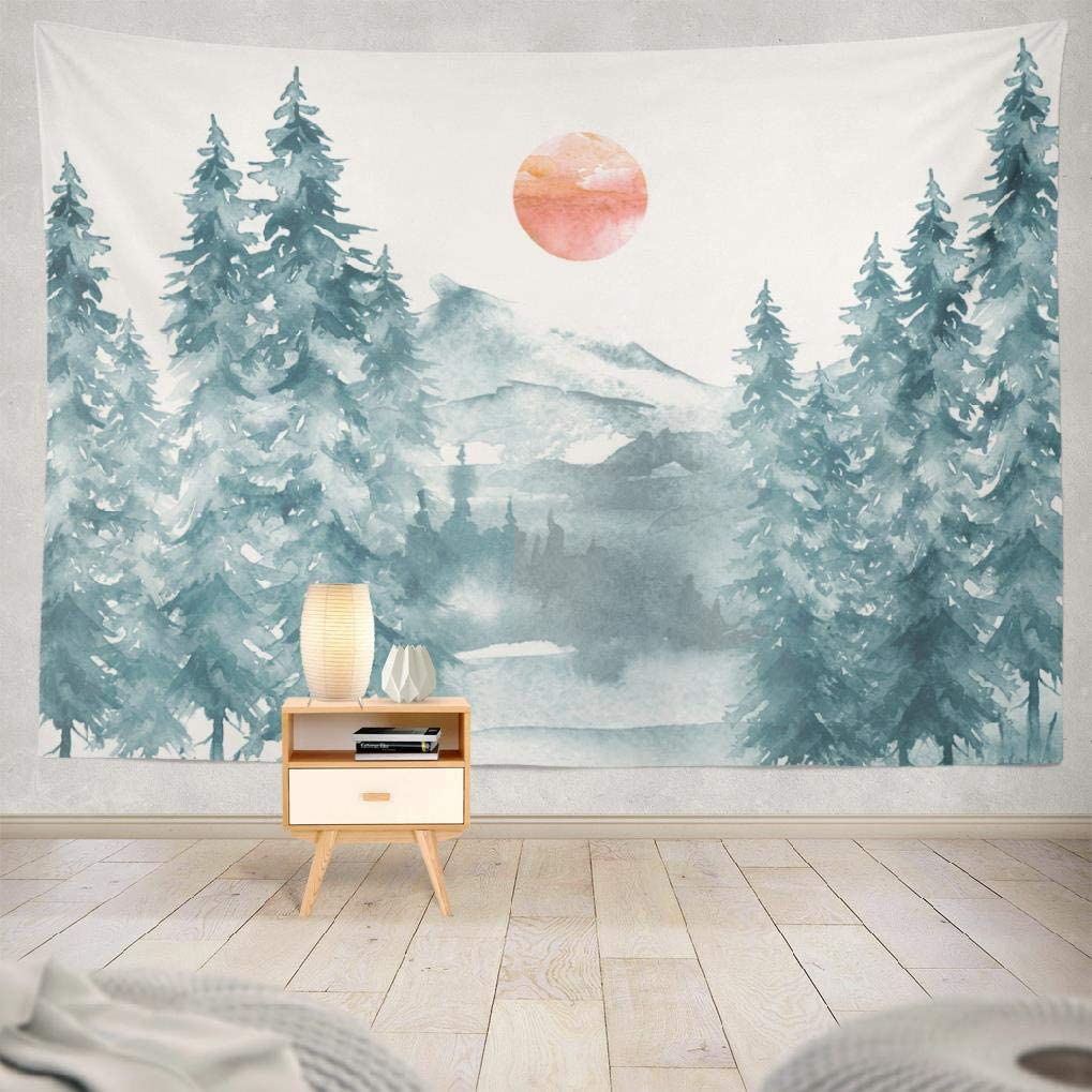 Soopat Watercolor Tapestry Wall Hanging,Watercolor Picture Mountains Forest Pine Trees 80 X 60 Inches Hanging Wall Decor,Wall Tapestry for Home Decor Room Decoration birthday gifts,Mountain Fir 1
