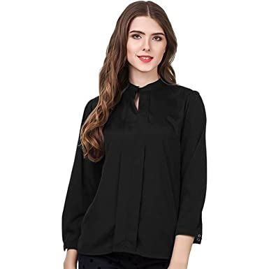 Cozami Solid Color Shirt Style Formal/Casual Tops for Women/Girls (Black,
