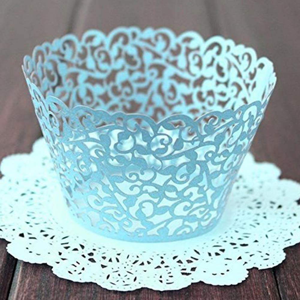 Xiton Paper Lace Cake Wrappers Elegant Hollow Carved Cupcake Cases Wedding Party Cake Holders Creamy-white 100 Pcs