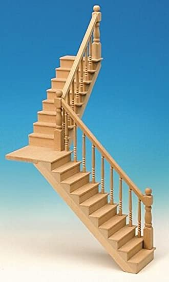 Angled Platform Stairs (for Room Height 25 Cm) For The Dollhouse Kit