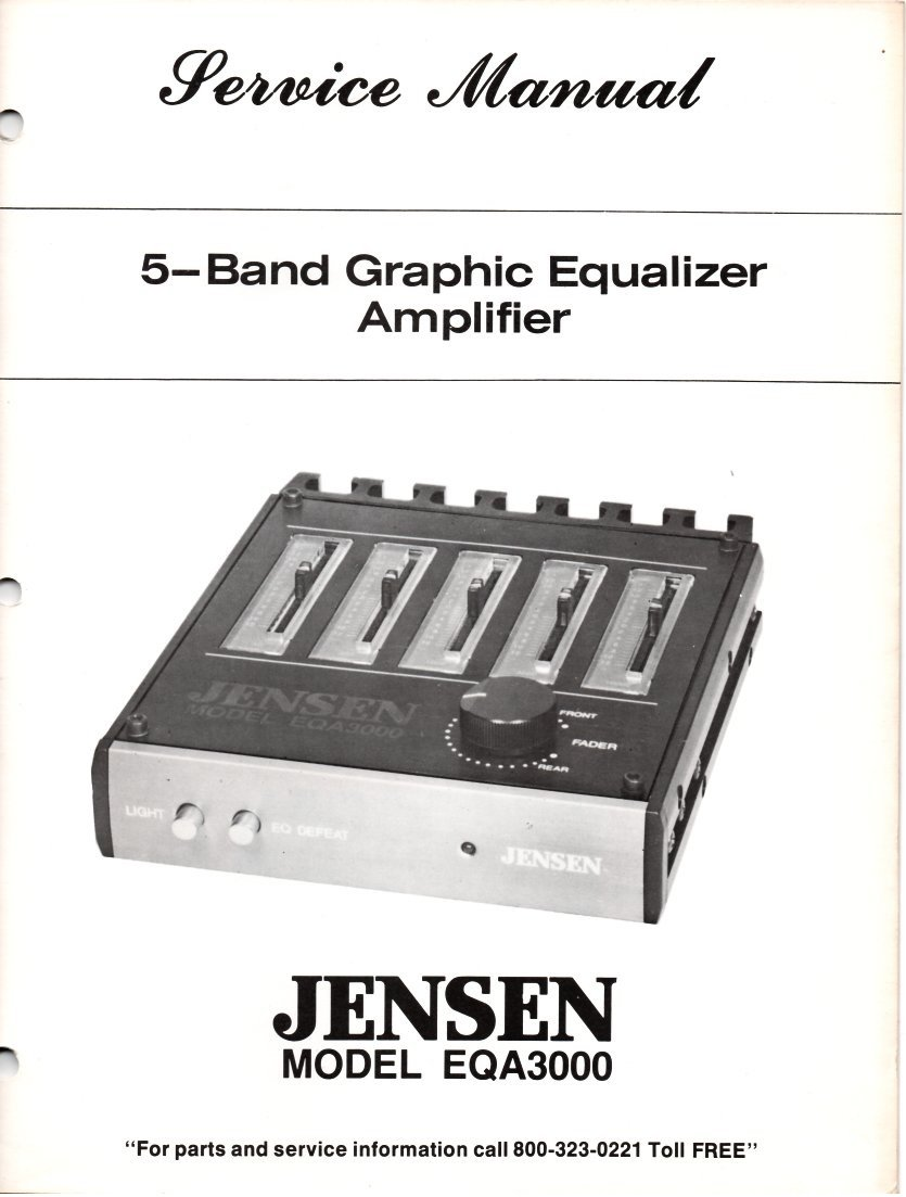 Service Manual For Jensen Eqa3000 5 Band Graphic Equalizer Amplifier Equaliser Circuit Diagram Sound Laboratories Esmark Company Books