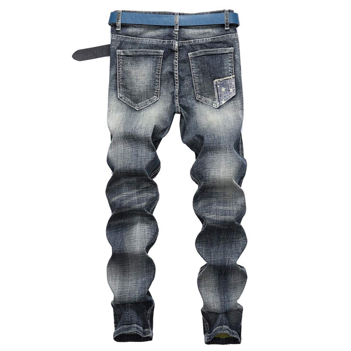 KORSE Mens Distressed Ripped Biker Slim Fit Jeans Moto Retro Denim Pants