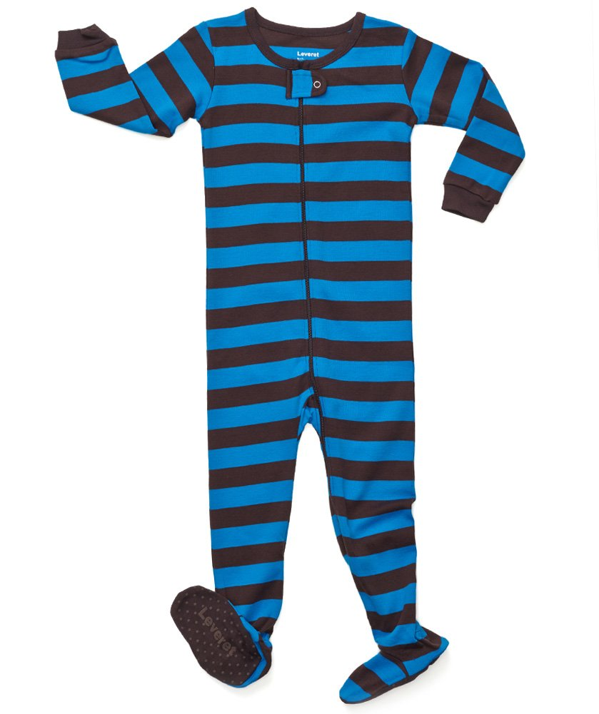 Leveret Kids Striped Baby Boys Footed Pajamas