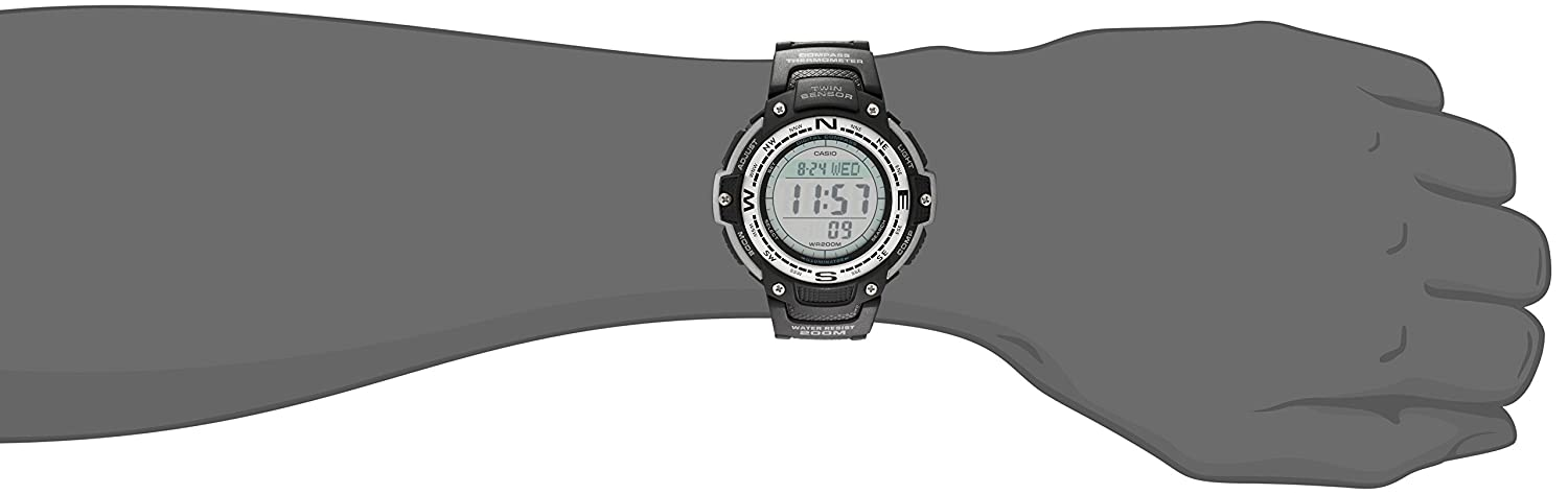 7c6a97a0202 Amazon.com  Casio Men s SGW100-1V Twin Sensor Digital Black Watch  Casio   Watches