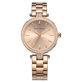 c65427f942d Amazon.com  Charm Womens Watches Rose Gold Tone Small Face Crystal Stainless  Steel Bracelet Second Hand for Ladies  Watches