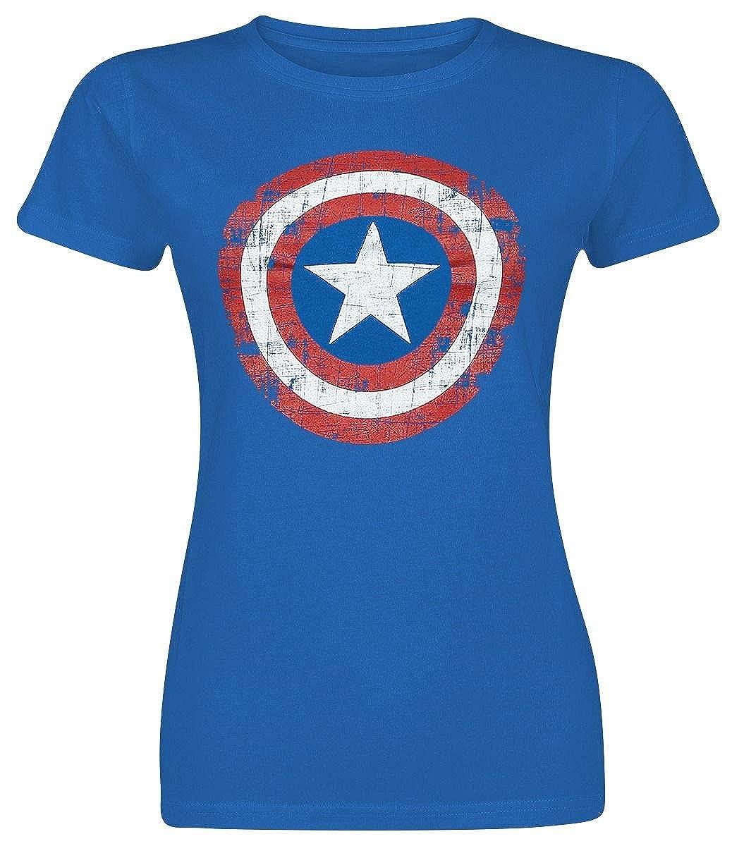 TALLA M. Capitán América Cracked Shield Camiseta Azul