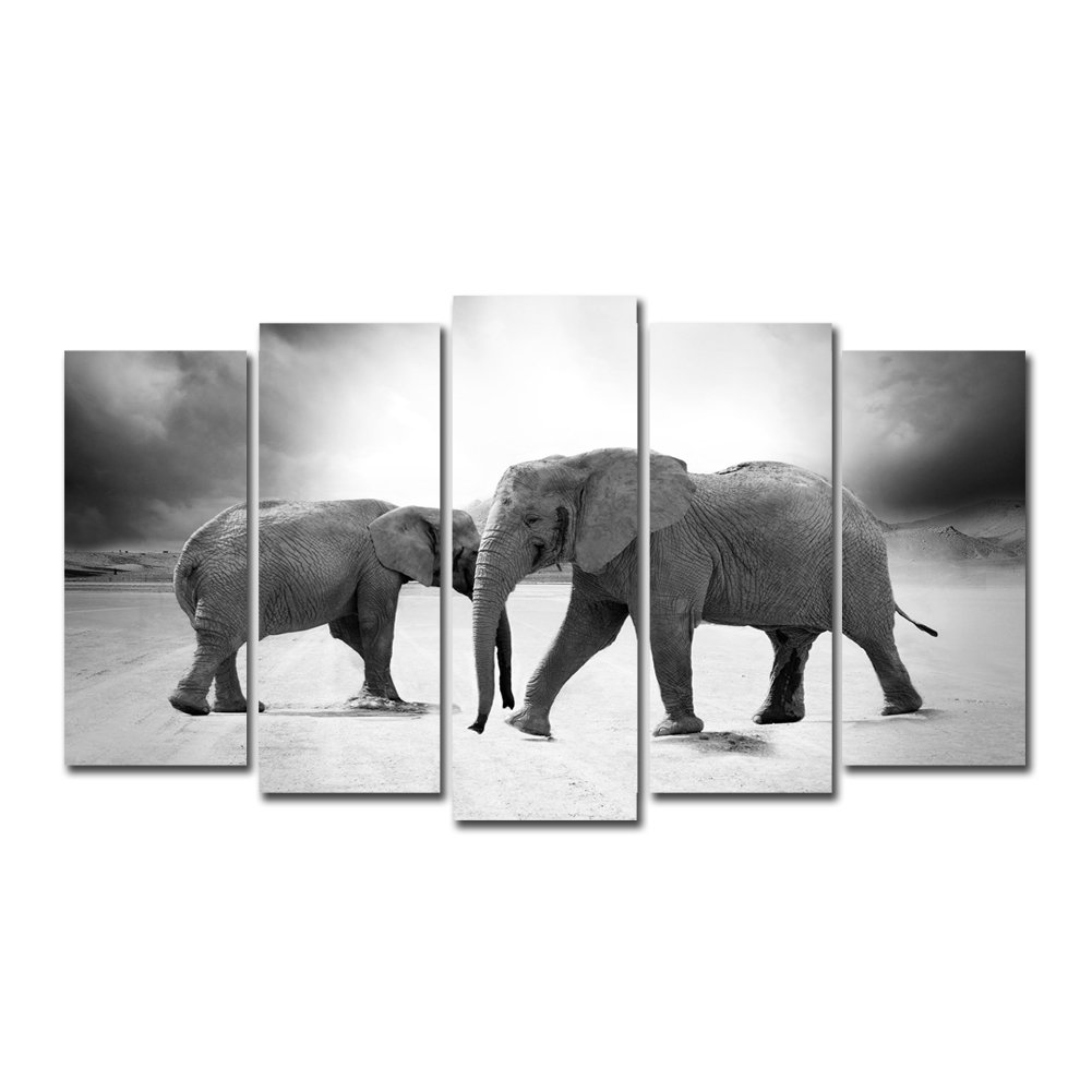 Horgan Art Canvas Print African Elephants Wall Painting Modern Artwork Home Decor for Living Room 5 Pieces No Frame