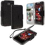 Motorola Droid Razr M Case, TechSpec(TM) Black Leather Wallet Pouch Case Cover with Slots for Motorola Droid Razr M XT907