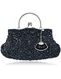 Women's Vintage Style Beaded Sequined Evening Bag Wedding Party Handbag Clutch Purs