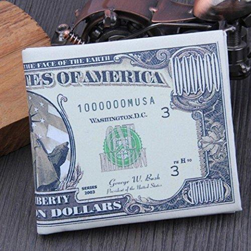 PU marron américains Dollar avec crédit Portefeuille carte Portefeuille Fami dollars de en B cuir en de double billets aZxtE