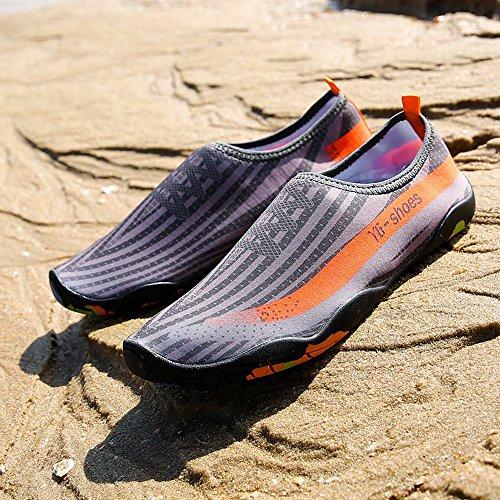 Deesee (tm) Unisexe Hommes Femmes Imprimé À Séchage Rapide Nager Chaussettes De Surf Yoga Peau Chaussures De Sport Gris