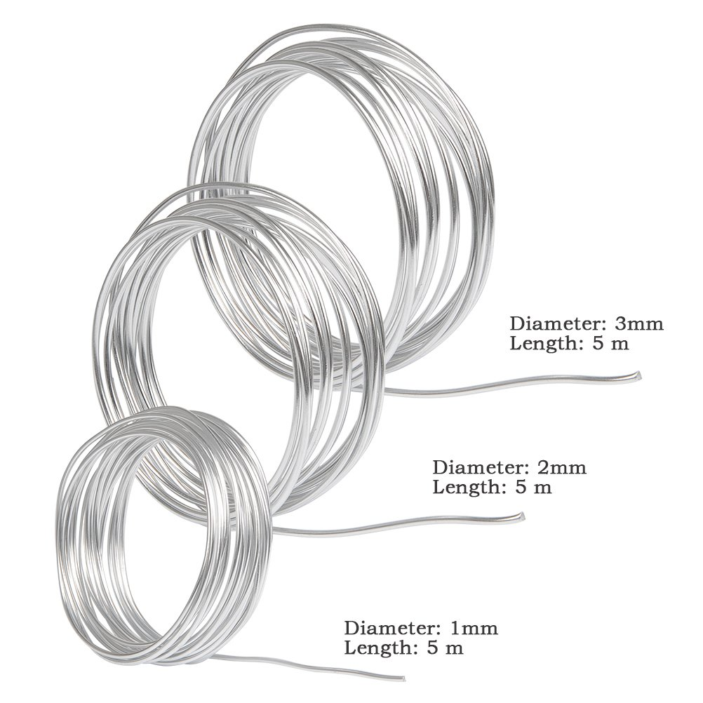 WOWOSS Silver Aluminum Craft Wire,3 Sizes (1 mm, 2 mm 3 mm in ...
