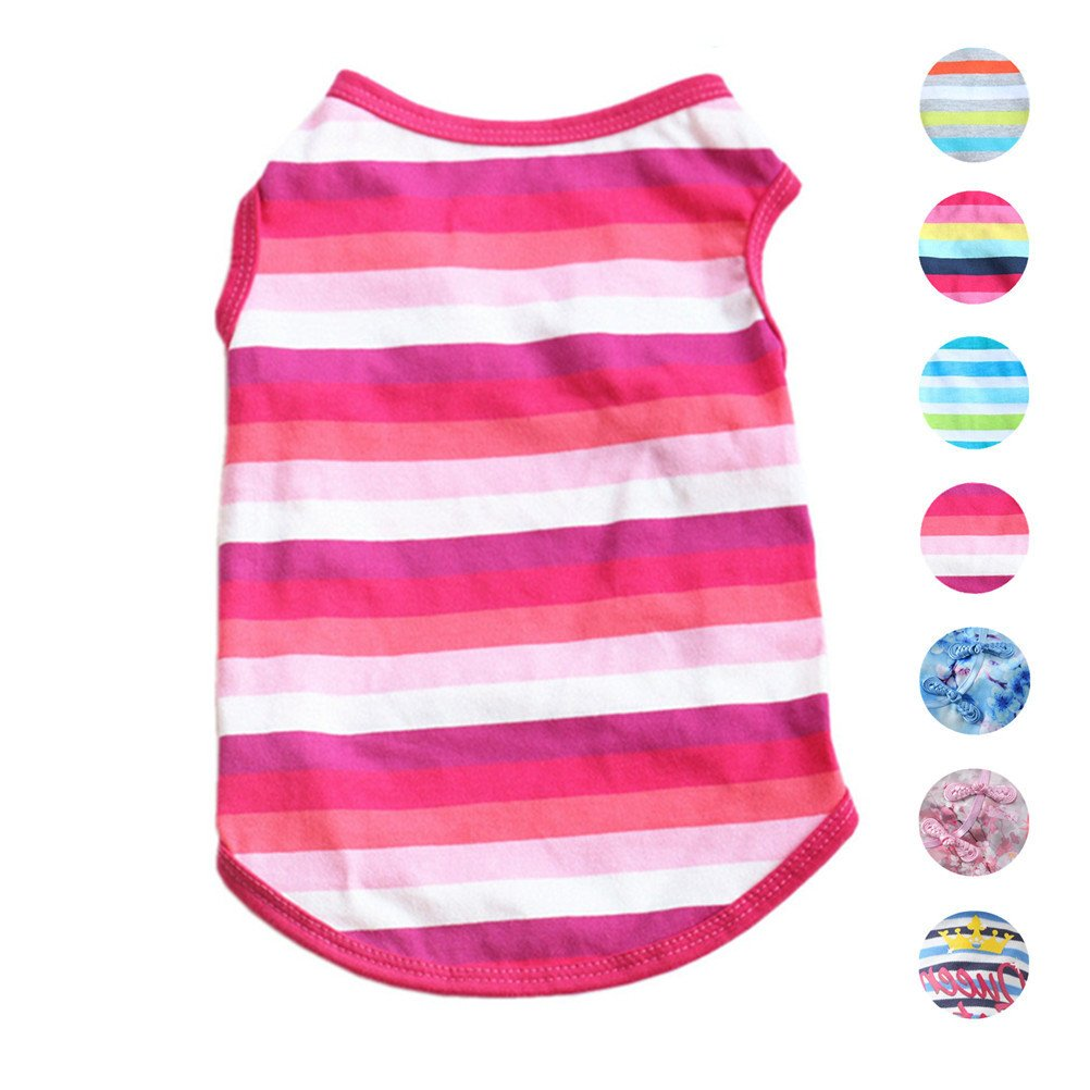No. 4 Stripes LAlroman Pet Shirts Dog Vest Puppy Tee Dog TShirt Cat Vest Cat Shirts Pet Clothes for Small Female Dogs and Cats Doggie TShirt Cats Apparel Puppy Summer Apparel Pet Beach Wear (S, Magenta)