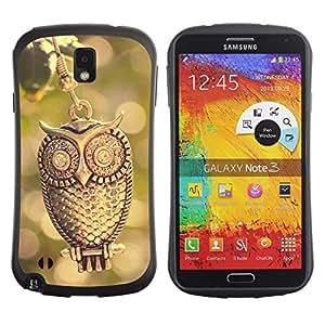 Suave TPU GEL Carcasa Funda Silicona Blando Estuche Caso de protección (para) Samsung Note 3 / CECELL Phone case / / Design Gold Owl /