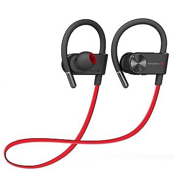YIKESHU Nuevo IPX-4 Deporte Auriculares Bluetooth a Prueba de Agua 4.1 Mini Auricular inalámbrico Sobre la Oreja Música Estéreo Binaural (YEar08-RD): ...