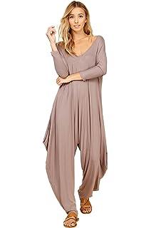 b54c7eb4d7d Annabelle Women s Solid Harem Pant Long Sleeve Pocket Romper Jumpsuit