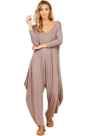 5296e7a7b5fc Annabelle Women s 3 4 Sleeve Comfy Harem Jumpsuit Romper with Pockets Taupe  Grey Medium JC6008