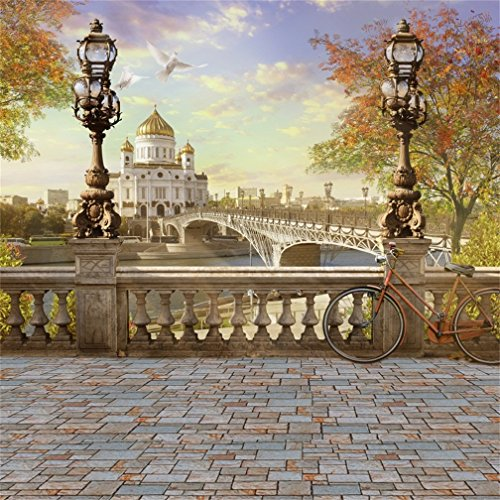 CSFOTO 4x4ft Christ The Savior Cathedral Panorama Background Old Building Bike Leisure Photography Backdrop Architecture Dove Lamp Tourism Holiday Studio Props Artistic Portrait Wallpaper