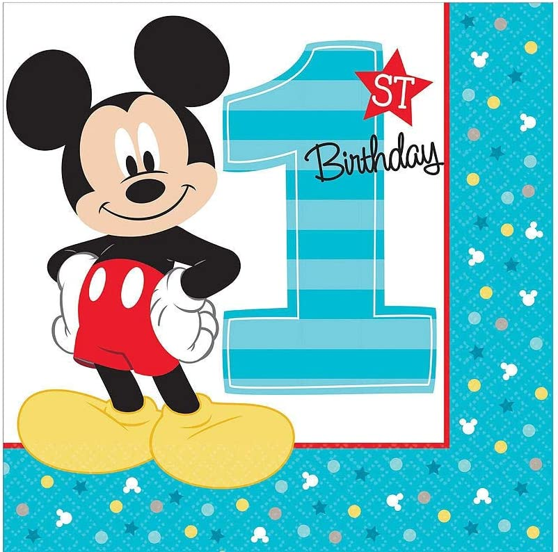Party City 1st Birthday Mickey Mouse Deluxe Party Kit for 32 Guests, Includes High Chair Decorating Supplies and More