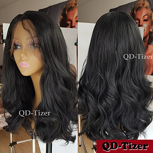 QD-Tizer 180 Density Wavy Hair Wig Black Body Wave Synthetic Lace Front Wigs with Baby Hair for Women