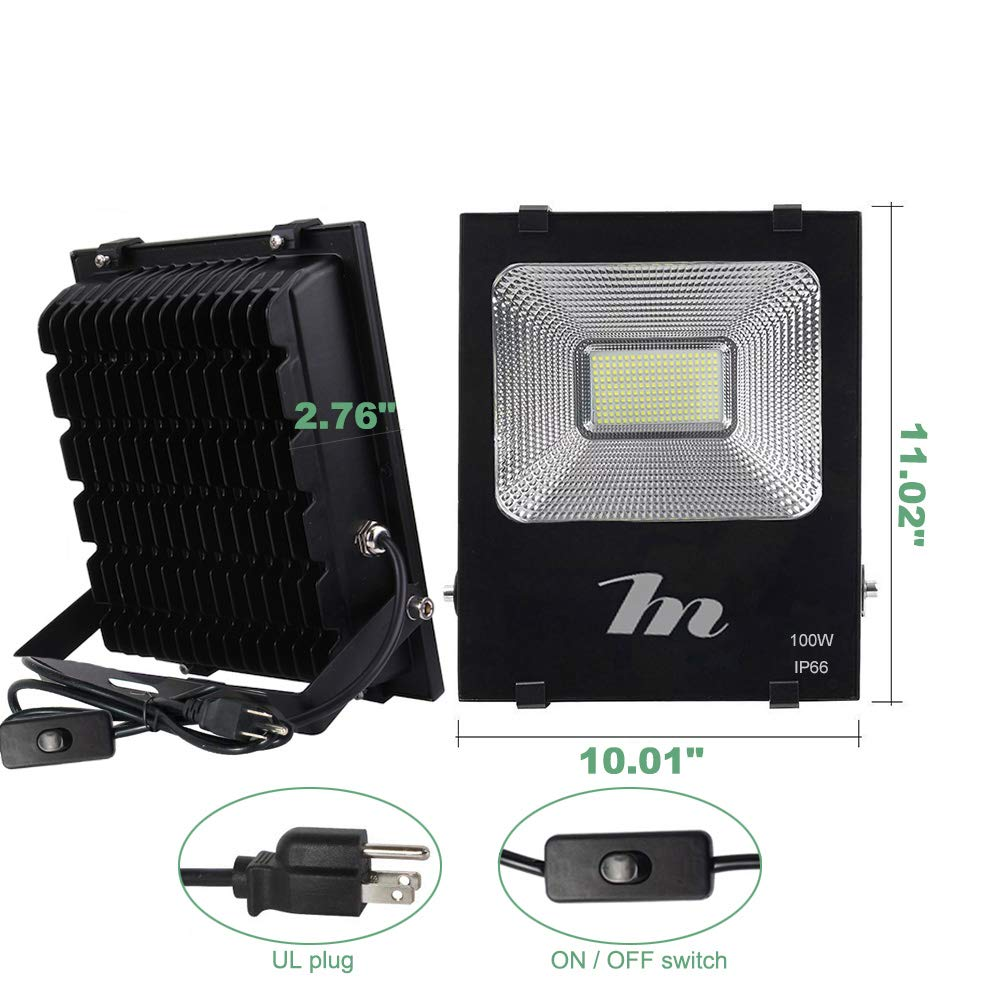 LED Flood Light 50W,HN Waterproof Outdoor Spot Lights 5000lm Daylight 6500k Floodlights with US-3 Plug for Yard,Garage,Garden,Lawn