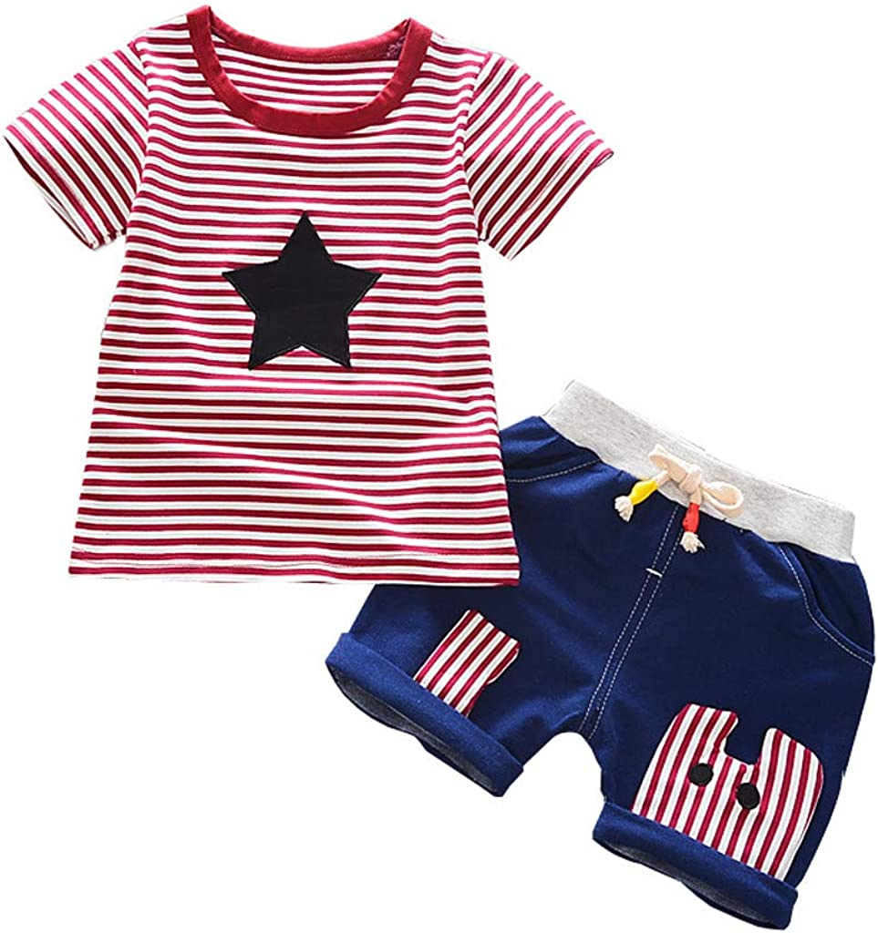 Baby Boys Clothes Set Toddler Kids Newborn Short Sleeve T-Shirt Tops+Cotton Shorts 2Pcs Summer Outfits