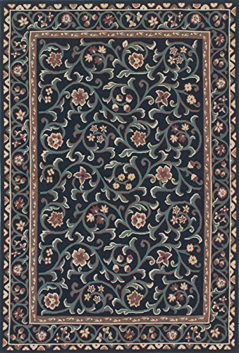 4'0'' X 6'0'' French Tapestry Traditional Black, Teal Area by CarPet