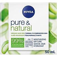 NIVEA Pure & Natural Moisturizing Day Care (50mL), NIVEA Face Cream for Normal & Combination Skin, With Organic Argan…