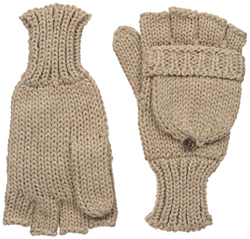 Woolrich Women's Heathered Pop Over Glomit Mittens Gloves, Khaki Heather, One Size